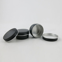 $enCountryForm.capitalKeyWord Australia - 100 x 15g Empty Mini Black Aluminum Cream Jar Pot Art Makeup Lip Gloss Empty Cosmetic Metal Tins Containers