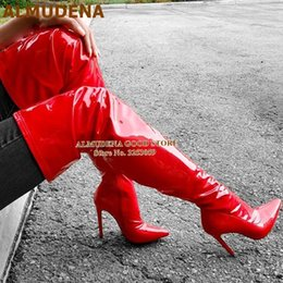 over knee pink boots Canada - ALMUDENA Red Pink Over The Knee Boots Patent Leather Thigh High Boots Stiletto Heel Pointed Toe Bright Mirror Leather Tall Boot