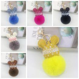 $enCountryForm.capitalKeyWord Australia - Fashion PU Mouse Plush Keychains Head Fur Ball keyring Animal Toys for Girls Car Bag Phone Strap 17*12*8CM cartoon keychains
