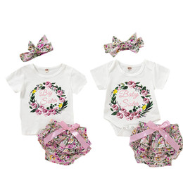 Three Piece Suit Bow Australia - Summer Baby Girls Suit Cotton Letter Flower Print Short Sleeve Round Neck Romper Floral Bow TUTU Triangle Shorts With Headband 3 Piece Set