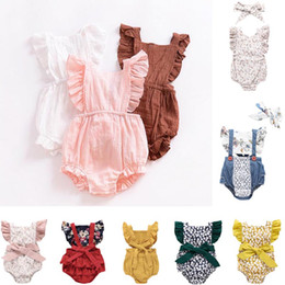 Pink ruffle romPer online shopping - Ins Baby Girl romper Summer climbing romper cotton back hollow out ruffles romper girl kids summer rompers T Baby Kids Clothing