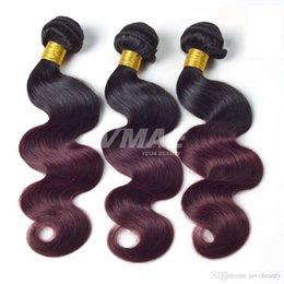 VMAE On Sale Ombre Hair Bundles Brazilian Virgin Hair Body Wave Bundles Ombre Human Hair Weave Two Tone 1b Burgundy Ombre color