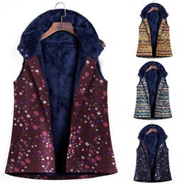 vintage vests women Australia - Winter Fashion Casual Vest Women Hooded Fleece Pockets Floral Single Breasted Vintage Coats Female Tide