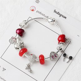 Sweet Valentine Gifts Australia - Charm Apple Accessories Beads Bracelet sweet Mouse Pendant 925 Silver Bangle DIY Wedding Jewelry as a Valentine Christmas gift