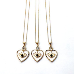 $enCountryForm.capitalKeyWord Australia - Metal Copper Heart Eye Pendant Necklace, Cubic Zirconia Enamel Charm,Handmade Gold Chains Lucky Jewelry Necklaces NK444