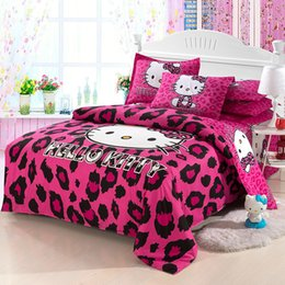 hello bedding Canada - Newest lovely Cartoon Hello Kitty cut Mouse 4pcs 3pcs Duvet Cover Sets Soft Polyester Bed Linen Flat Bed Sheet Set Pillowcase Y200111
