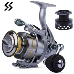 gear spin NZ - Sougayilang All Metal Spool Spinning Reel 13+1BB Double Spool Fishing Reel 8KG Max Drag 5. 5.5:1 Gear Ratio Carp Fishing