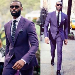 PurPle tuxedos online shopping - Handsome Purple Groom Tuxedos Groomsmen Peaked Lapel Best Man Suit Wedding Men s Two Buttons Blazer Suits Custom Made Jacket Pants