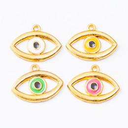 EnamEl Evil EyE charms online shopping - 20pcs MM Gold tone enamel color turkey eye evil eye charms metal alloy pendants for bracelet necklace earring diy jewelry