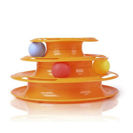New Crazy Toys NZ - pet toys New Funny Pet Toys Crazy Ball Disk Interactive Amusement Plate Play Disc Trilaminar Turntable Cat Toy 2018
