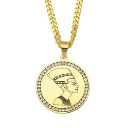 Egypt Pendants Australia - Gold Egyptian Egypt Queen Nefertiti Pendant Necklaces Luxury Men Women Hip Hop Necklace Unisex African Fashion Necklaces Lover Gift
