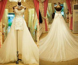 White Brides Dresses NZ - Sweetheart Strapless Wedding Dresses Court Train Vintage Carolina White Brides Dresses Custom Made Hi-Low Beaded Crystal Bridal Dresses