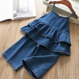 594280cc490 Fashion Kids double falbala suspender denim tops+elastic jean half pants  2pcs sets 2019 summer new girls cowboy outfits F4405