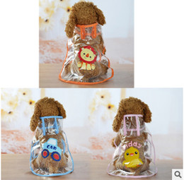 Wholesale clothes factories resale online - Transparent Puppy Rainwear Universal Waterproof Dog Clothes Summer Spring Hooded Pet Rain Coat Clear Cartoon Raincoat Factory Direct Sale
