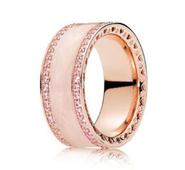 Original 925 Sterling Silver Rings Australia - Original 925 Sterling Silver Ring Rose Gold Pink Hearts Of Pan Band Rings With Crystal For Women Wedding Gift Jewelry
