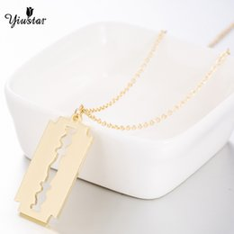 Razor Necklace NZ - yiustar Razor Blade Necklace Stainless Steel Necklaces For Women Fashion Jewelry Gold Chokers Pendant Necklaces Christmas Gifts