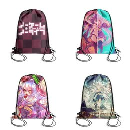$enCountryForm.capitalKeyWord Australia - No Game Life checkerboard logo Cartoon Printing Unicorn Drawstring Bags non-woven pony Backpack students Shoulder storage pouch cool for