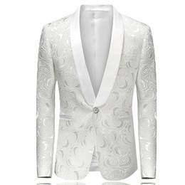 $enCountryForm.capitalKeyWord Australia - Embossing Groom Wedding Tuxedos Popular Mens Floral Pattern Shawl Lapel Man Jacket Blazer Fashion Prom Dinner 2 Piece Suits