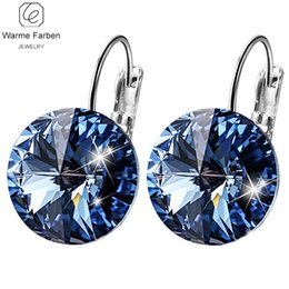 Make swarovski earrings online shopping - WARME FARBEN Earring for Women Made with Swarovski Crystal Round Stone Drop Earring Silver Jewelry Earring Gift for lady