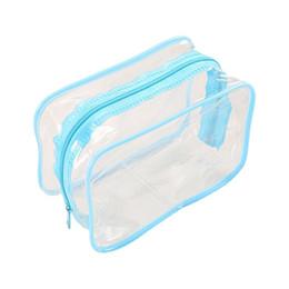 $enCountryForm.capitalKeyWord Australia - VSEN Hot PVC Clear Pouch Travel Bathing Toiletry Zipper Cosmetic Bag, Blue S