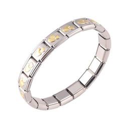 03f05ba3d11 316L Stainless Steel Gold Plated Heart 18 Link Modular italian charm  starter Bracelet fit Nomination Bracelet