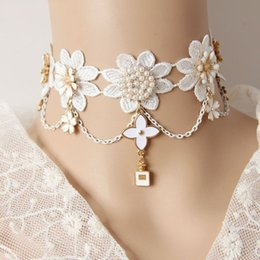 $enCountryForm.capitalKeyWord Australia - Cherry Blossom Pendant Imitation Pearls Choker Necklace white Lace Women Collar Party Jewelry Neck accessories 2019