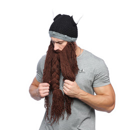 Solid maSk online shopping - Men Winter Mustache Braid Beanie Halloween Funny cosplay Hat Barbarian Vagabond Viking Beard Hat Horn Warm Wool Knitting Caps Mask LJJA2814