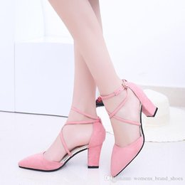 $enCountryForm.capitalKeyWord Australia - 2019 fashion brand Fall s new women s low-cut chunky sandals, Roman style pointy shoes, cross-strap high-heeled women s shoes