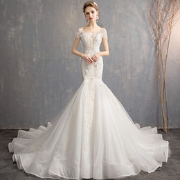 lace fish NZ - Fish tail wedding dress new bride wedding luxury wedding dress one word shoulder lace waist to show thin dress female tuxedo