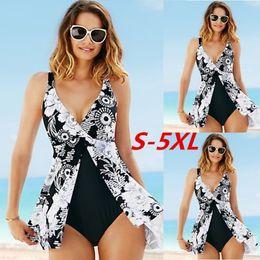 0b9457788d980 5xl Plus Size One Piece Swimsuit 2017 Sexy Women Sleeveless Deep V-neck  Print High Waist Irregular Swimwear Backless Monokini Y19052001