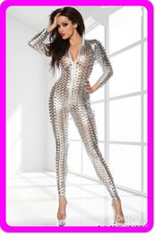silver overalls Australia - Hot Sexy Lingerie Gothic Silver Fashion 3D Intricately crafted Overall Catsuit Costume 7117