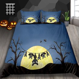 ChoColate duvet set king online shopping - Bat Print Bedding Set Halloween Decoration Cute Duvet Cover Twin Cartoon Kids King Queen Double Single Full Bed Cover with Pillowcase