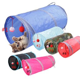 Wholesale 6 Colors Funny Pet Cat Tunnel Holes Play Tubes Balls Collapsible Crinkle Kitten Toys Puppy Ferrets Rabbit Play Dog Tunnel Tubes with ship