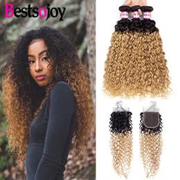 $enCountryForm.capitalKeyWord Australia - Bestsojoy Kinky Curly Ombre Bundles with Closure Colored 3 Bundles Raw Indian Human Hair Bundles with Closure #1b 27 Virgin Kinky Curly Hair