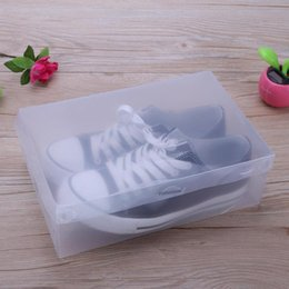 transparent plastic shoe boxes NZ - 10pcs Plastic Shoe Box Transparent Clear Storage Boxes Foldable Shoes Case Holder Shoes Organizer Cases Boxes J190718
