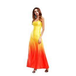de4ab8d06f Women dress fashion sleeveless vest Sling Sexy Shoulder Gradient dyeing  Elegant Lady skirt Casual Long Dresses Large Plus Size S-5XL D5