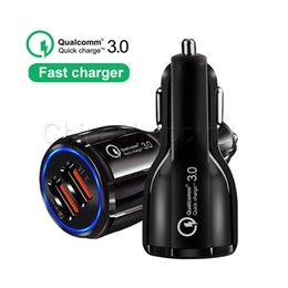 Wholesale QC3 A fast charge Qualcomm Quick Charge car charger Dual USB Fast Charging phone For Cell Phone