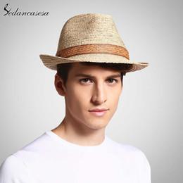 $enCountryForm.capitalKeyWord Australia - Classic Male Fedora Straw Hat Uv Protection Summer Sun Hats For Man Women Handmade Raffia Straw Trilby Cap Beach Holiday Cool Y19070503