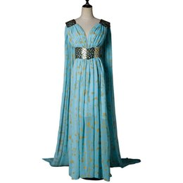 Medieval Dress Wedding UK - Game Of Thrones Daenerys Targaryen Dress Cosplay Costume A Song of Ice and Fire Blue Wedding Halloween Party Fancy Balldown
