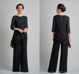 $enCountryForm.capitalKeyWord Australia - Simple Black Two Pieces Mother of the Bride Groom Pants Suits Cheap Unique Designed Plus size 3 4 Long Sleeves Evening Gowns
