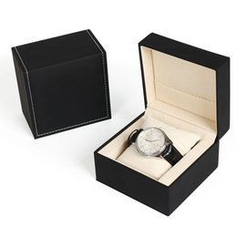 wholesale car lining Australia - Luxury New Black White Box Watch Booklet Card High-Grade Pu Car Line Watch Box Original Inner Outer Men Wristwatch Box Wholesale