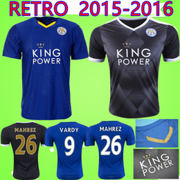 50ea2d80c  9 VARDY  26 MAHREZ Retro City 2015 2016 Soccer Jersey 15 16 home blue away black  Uniform Football Shirt 15 16 Vintage classic