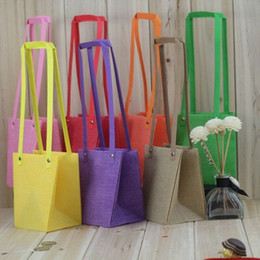 $enCountryForm.capitalKeyWord Australia - Waterproof PP-woven Flower Bags With Handle Bright Color Flower Packing Plant Bonsai Package Bag Wholesale QW9599