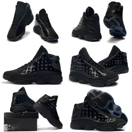 Men Sport Shoes Size 13 Australia - New designer shoes Jumpman 13 XIII all Black leather low Men Kids Basketball Shoes 13s sneakers sports outdoor trainers SIZE 7-13
