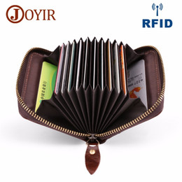 Discount best leather wallets for women - Genuine Leather Card Wallet For Men Women Business Bank Credit Case ID Holders RFID Porte Carte passport wholesale organ