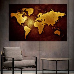 canvas wall art world map UK - Modern Posters Black Gold World Map Painting Wall Art for Living Room Home Decor (No Frame)
