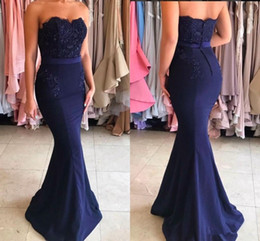 $enCountryForm.capitalKeyWord Australia - Dark Navy Mermaid Prom Dresses Zipper Strapless Cocktail Party Dress for Women Gift 2019 Evening Dresses Luxury Beaded Top
