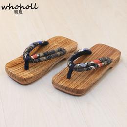 465050500b06 WHOHOLL Man Wooden Sandals Japanese Geta Sandals Man Flip-flops Clogs  Floral EVA Antiskid Flat Slippers Beach Shoes COS Custumes