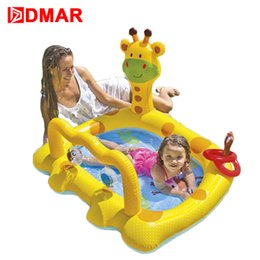 Infant Pool Inflatables Australia - DMAR Inflatable Giraffe Pool Toys for Kids Infants Baby Swimming Pool Float Water Game Bathing Children High Quality