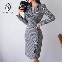 Wholesale ruffled trench resale online - New Women Slim Plaid Trench Dresses Notched Double Breasted Ruffles Bodycon Blazer Dress With Belt Elegant Office Lady D86003F